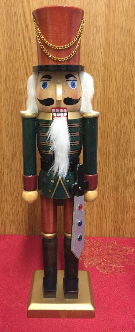 Hand Painted Wooden Nutcracker 38 cm Traditional Christmas Ornament ~ Brown Hat & Sword
